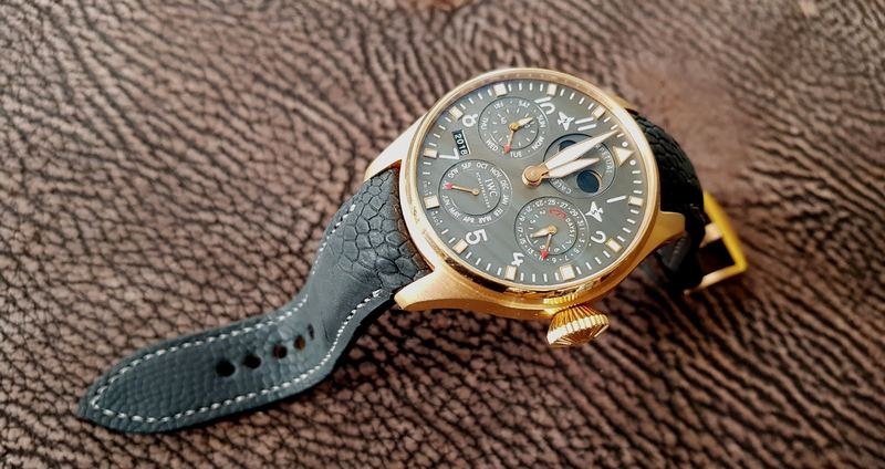 Peer's Incredible Rose Gold IWC Big Pilot Perpetual Calander on Carbon Black SuperMatte Ostrich Leg Watch Strap