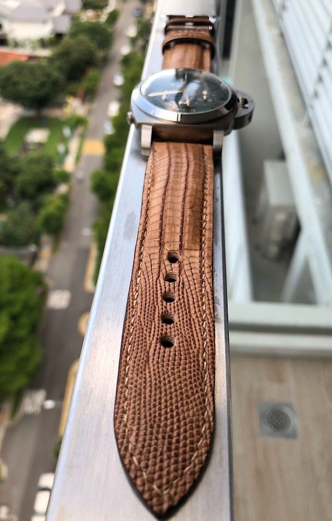 Racing Tan Teju Lizard strap for PAM737 - Custom Lizard straps for Panerai