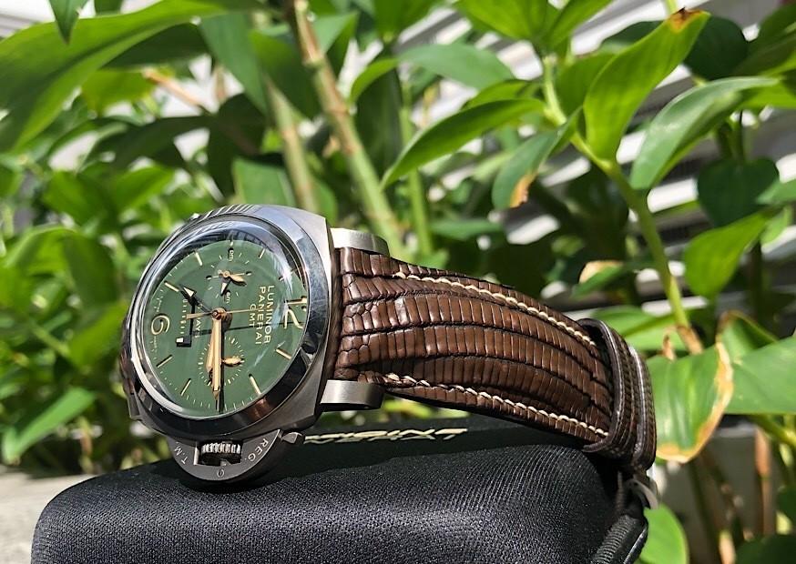 Dark Walnut Teju Lizard for Panerai PAM737 - Custom Lizard straps for Panerai