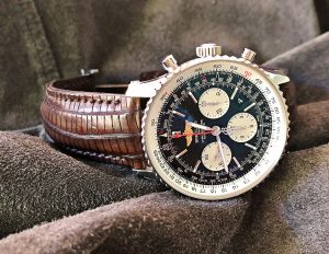Breitling Navitimer on Darkened Walnut Teju Lizard Watch strap