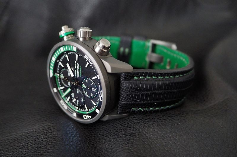 Benefits of Bespoke: Oliver's Maurice Lacroix PONTOS S EXTREME Chronograph on SuperMatte Teju with Green stitching and lining