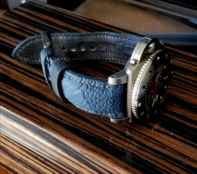 Great Customer Photos of PAM364 on Deep Atlantic Blue Ostrich Leg Strap
