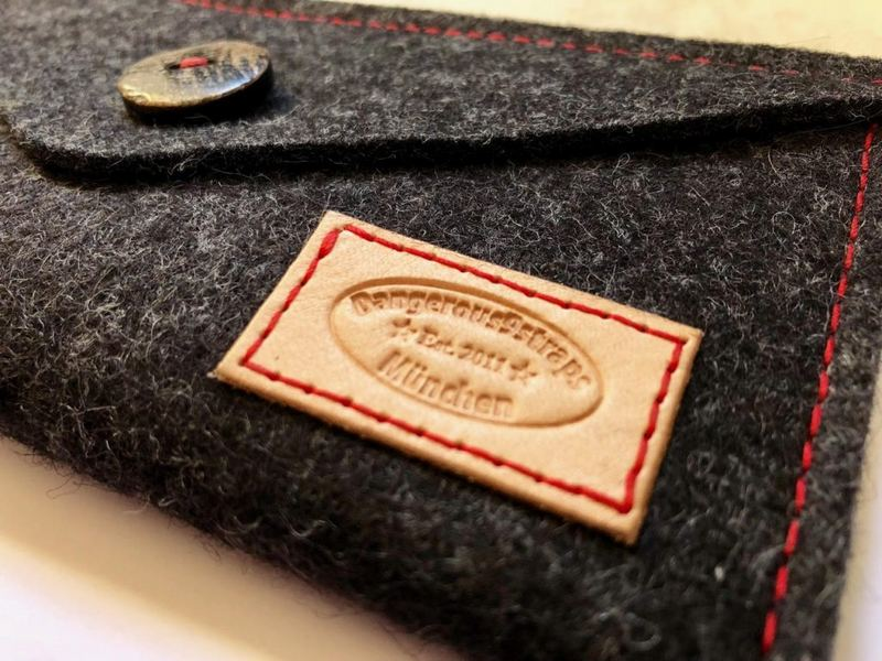 Leather Dangerous9straps' badge on Grey Welt pouch