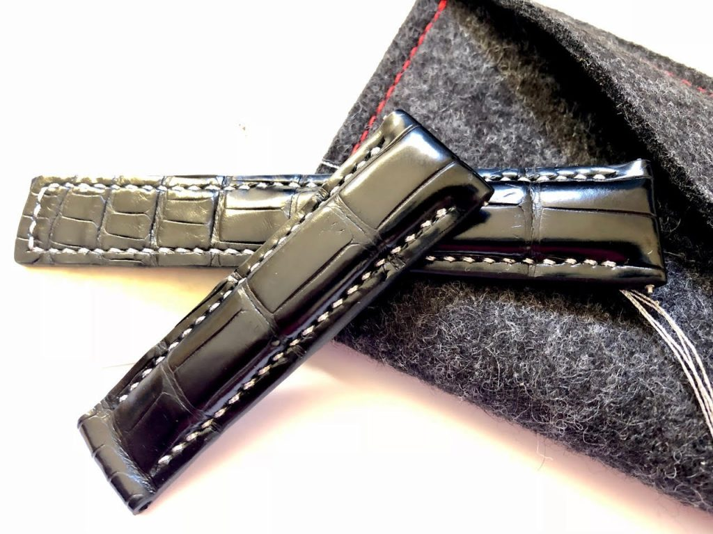 'Million Dollar Black Alligator with Metallic Silver Stitching for Tag Heuer Carrera