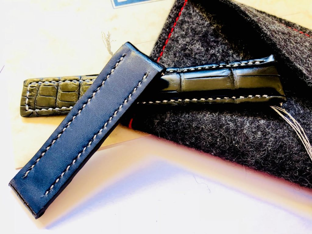 Baltic blue kidskin lining for 'Million Dollar Black Alligator with Metallic Silver Stitching for Tag Heuer Carrera