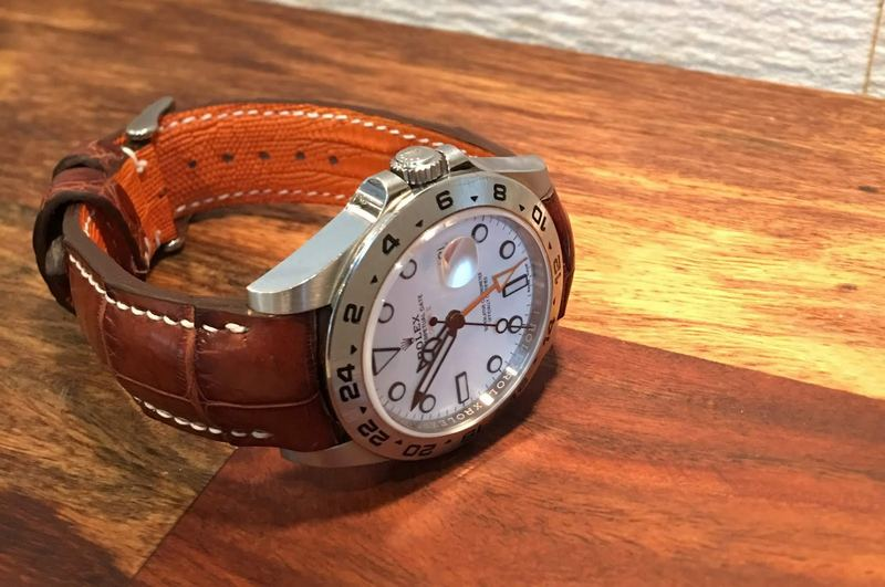 Rolex Polar Explorer II on Vintage Cognac Alligator Strap with our Integrated Fit