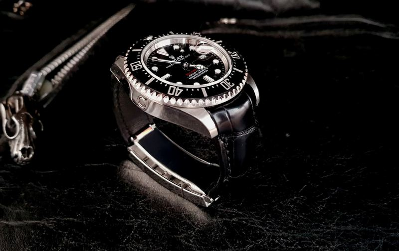 'Million Dollar Black' Alligator Strap for Rolex Sea-Dweller with Integrated Fit and Glide-Lock Clasp