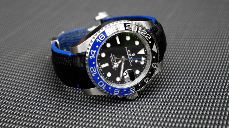 SuperMatte Carbon Black Teju Lizard for Rolex Master GMT BLNR (Batman)