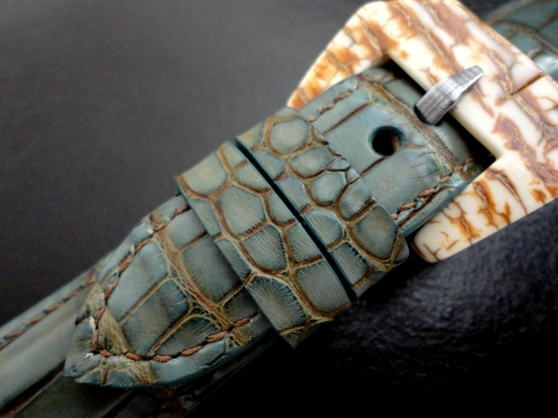 Alligator watch strap Mammoth buckle for Panerai