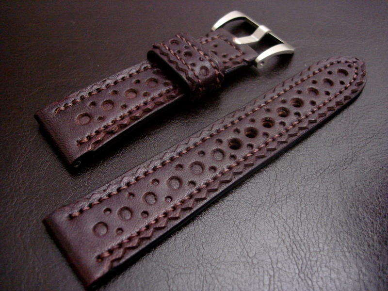 Brogued Watch Strap in Burgundy Leather for Panerai