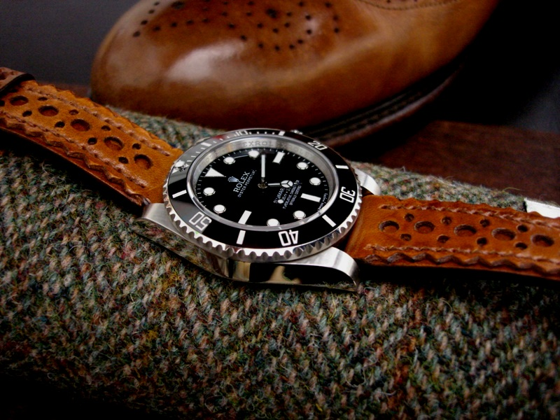 Brogued leather Watch Strap in Tan for Rolex