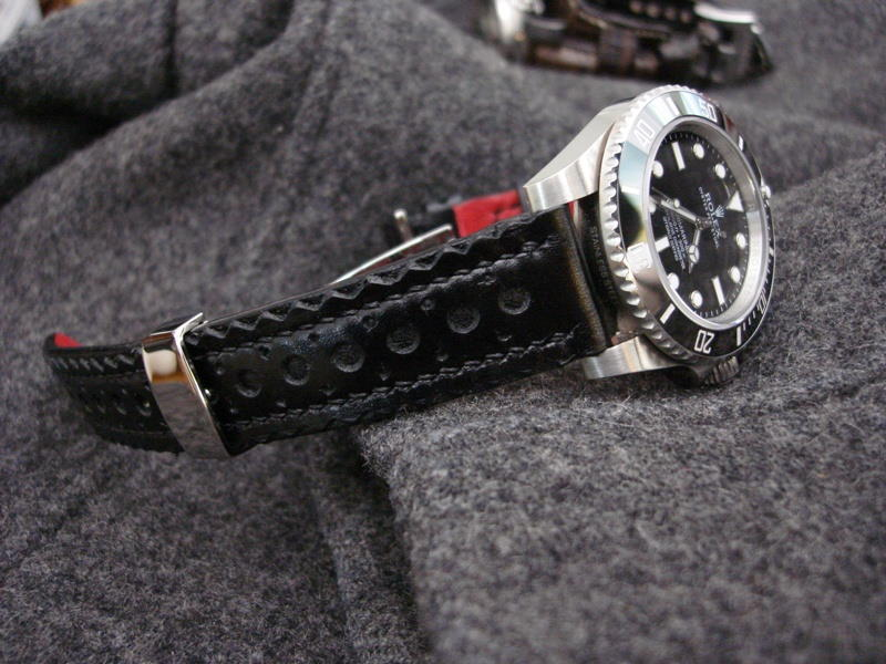 Black Calfskin Brogue Watch Strap for Rolex with Red leather lining