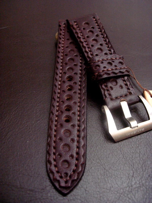 Brogued Strap in Burgundy leather for Panerai