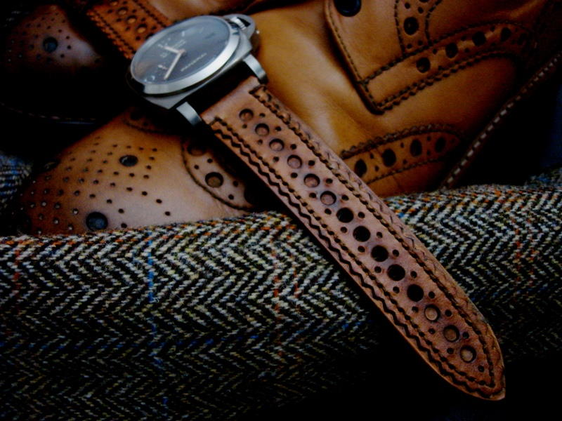 Burnished Tan Leather Brogue strap for PAM
