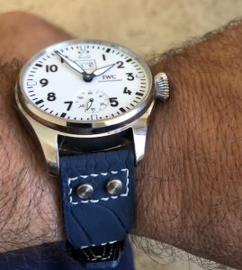 Mike's Great Looking IWC Anniversary Edition Big Pilot  on Deep Altantic Blue SuperMatte Ostrich Leg Pilot Strap