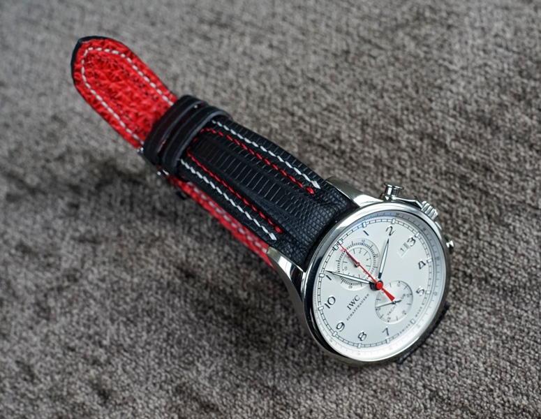 Custom SuperMatte Teju Lizard Watch strap for IWC Yacht Club with Double Row stitching