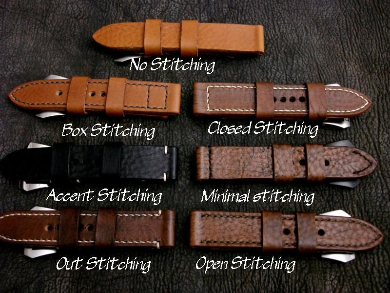 Stitching Patterns Possible for Custom Straps - available standard stitching patterns