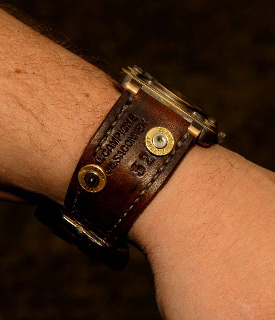 BR01 Bronze on 1952 Swiss Ammo Strap with Custom Bullet Shell Rivets