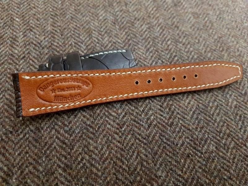 Ostrich Leg strap for IWC Portugieser - Saddle mustang Kidskin lining