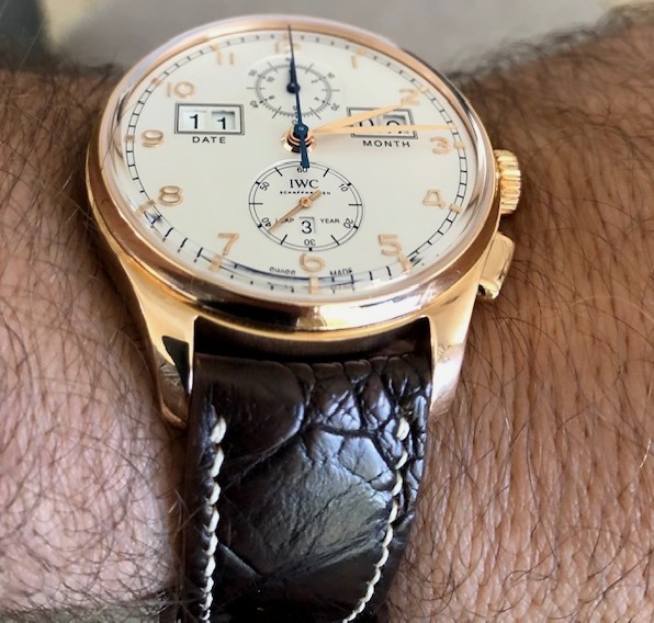 IWC Portuguese on Cigar Brown Ostrich Leg skin strap