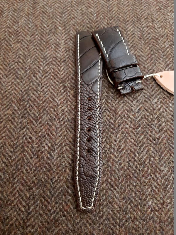 Custom Ostrich Leg watch strap for IWC Portugieser