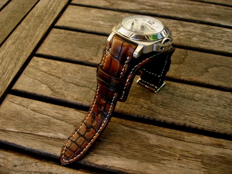 'Full Dye' Hand Antiqued Alligator Bund strap on Panerai PAM051