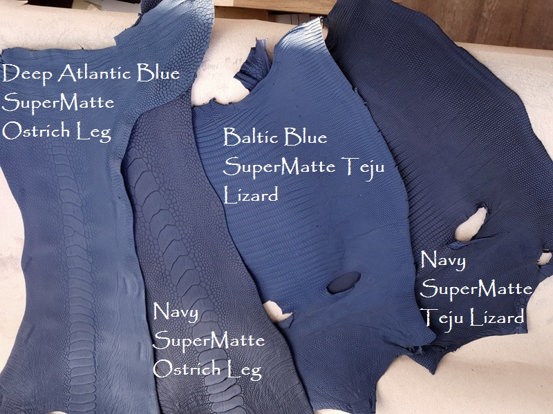 New Blue Colors in our Teju and SuperMatte Ostrich Exotics