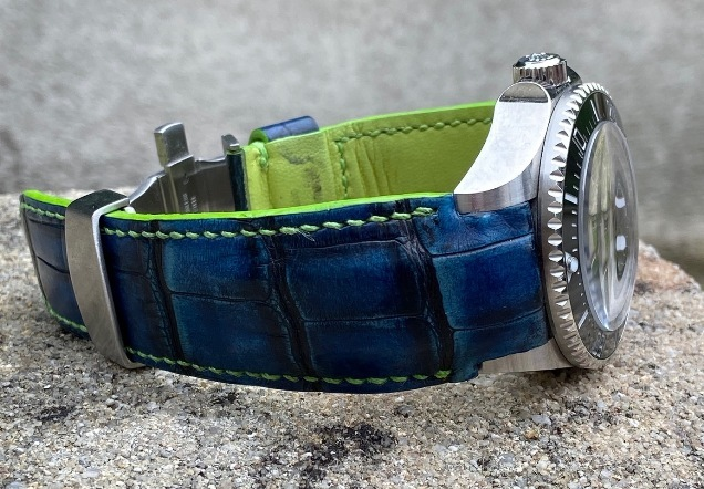 Olivier's Custom Dyed Antiqued Blue Alligator Strap for Rolex Deep Sea D-Blue