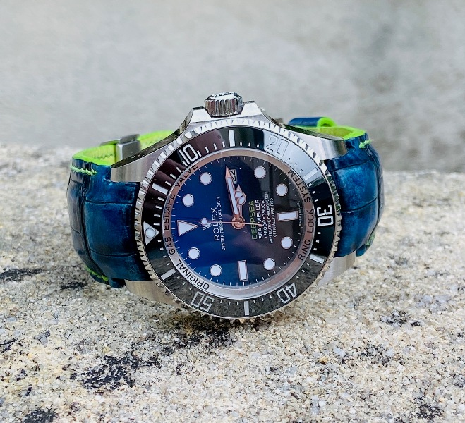 Antiqued Blue Alligator Strap for Rolex Deep Sea