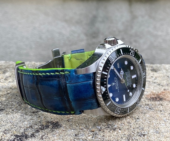 Custom Hand Antiqued Blue Alligator strap for Rolex Deep-Sea with Fully Integrated Fit (FIF)