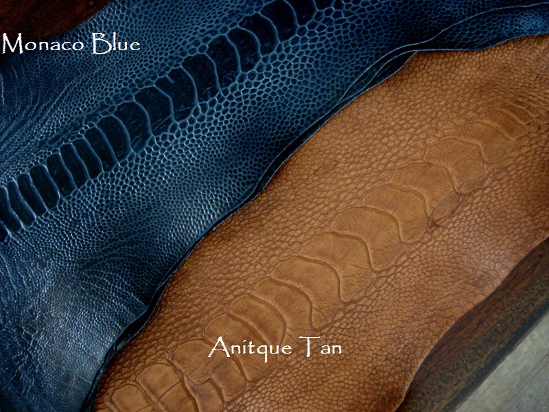 Antique Tan and Monaco Blue Ostrich Leg skin