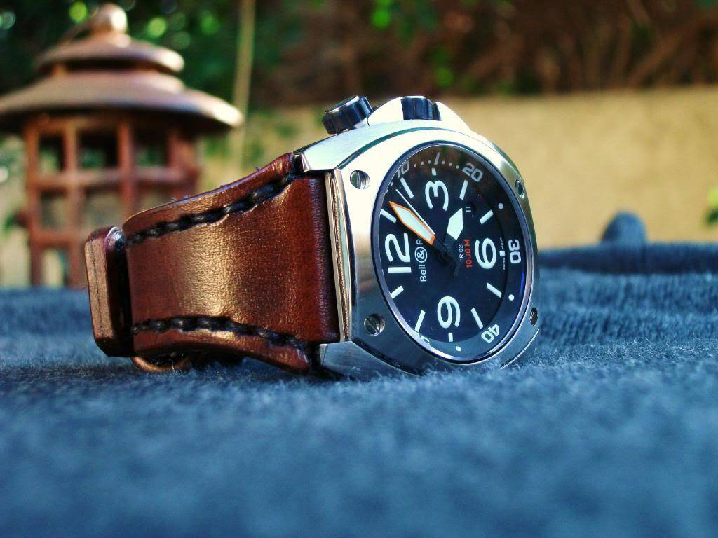 American Brown Leather strap for BR02