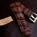 Straps made from Antique Chestnut Alligator