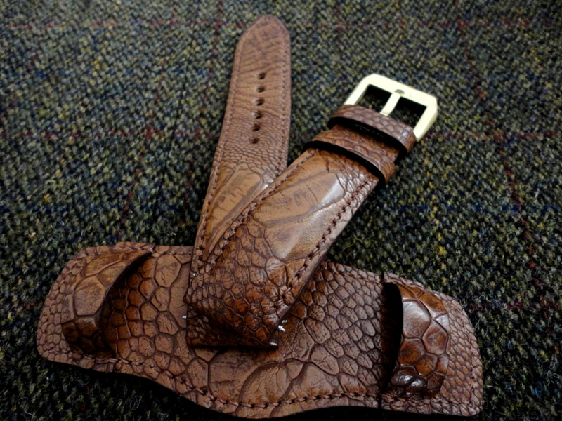 Custom Watch Bund Strap made from Antique Tan Ostrich Leg