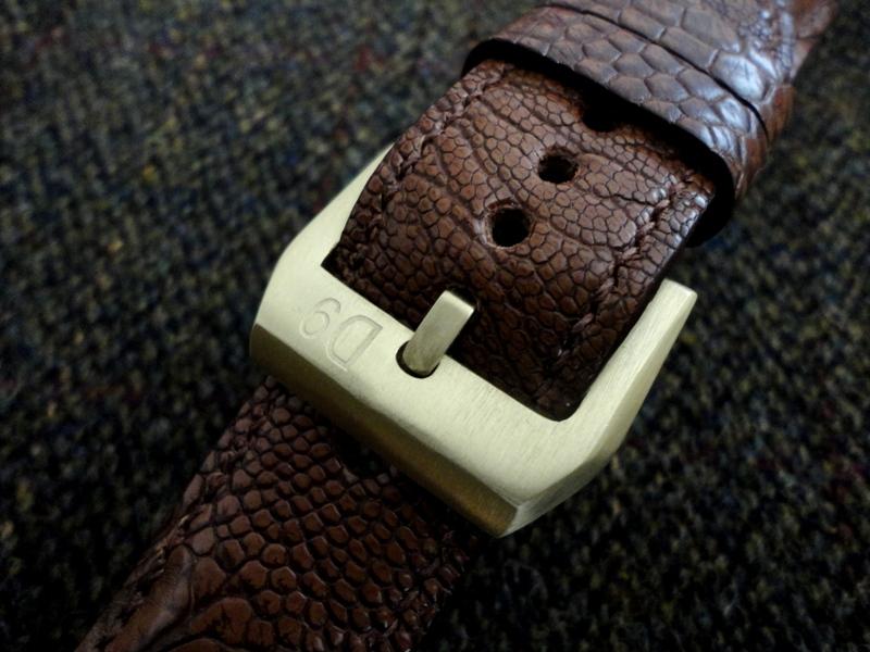 Bronze Buckle - Custom Watch Bund Strap made from Antique Tan Ostrich Leg