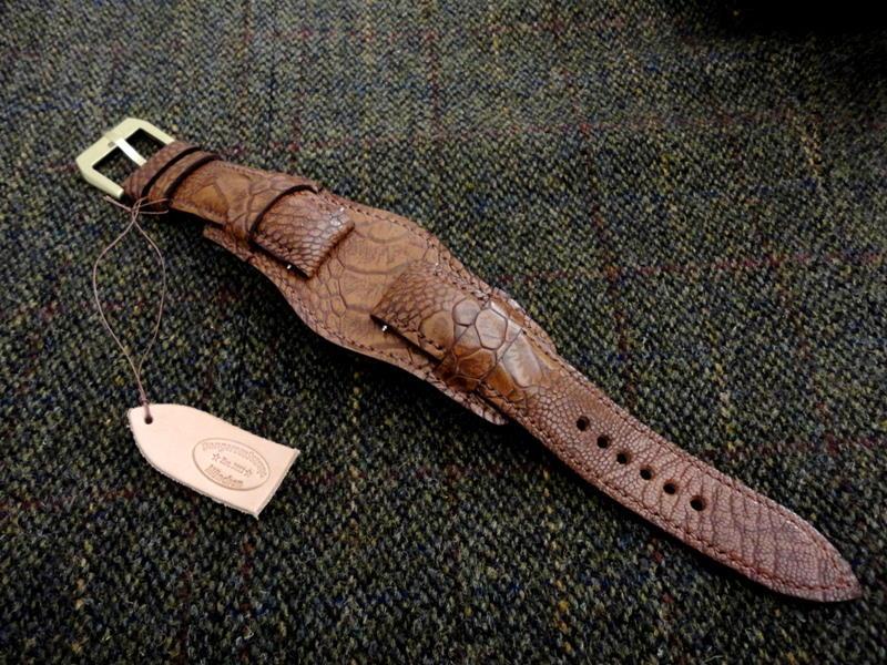 Antique Tan Ostrich Bund strap for Tudor Black Bay Bronze