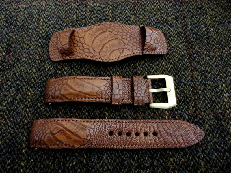 Straps made from Antique Tan Ostrich Leg