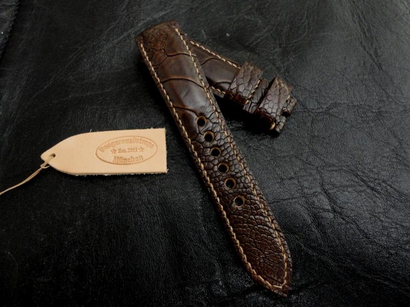 Cigar Ostrich Leg strap for Rolex