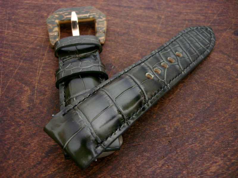 Straps made from Dark Olive Alligator