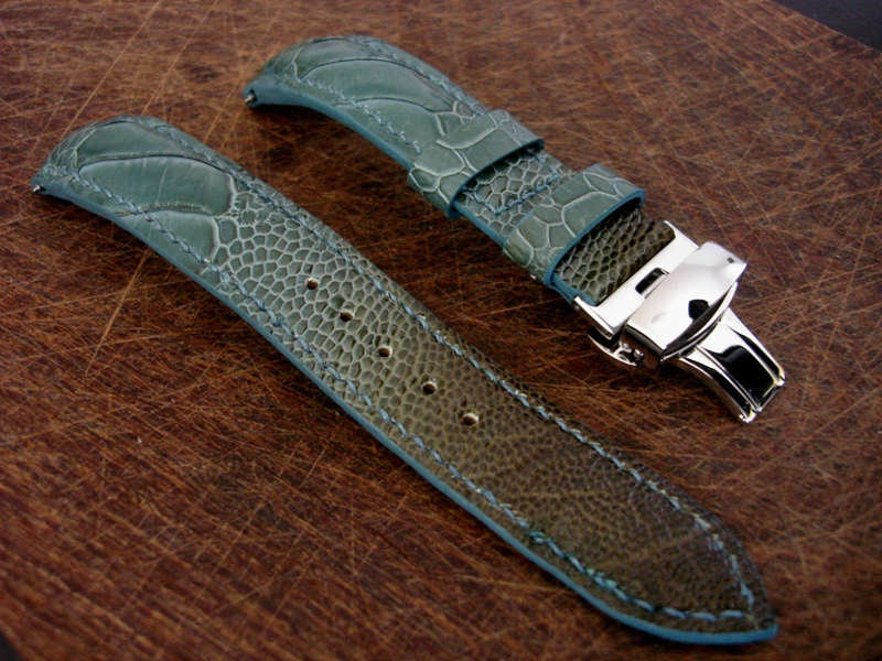 Straps Made From Martinique Bleu Ostrich Leg