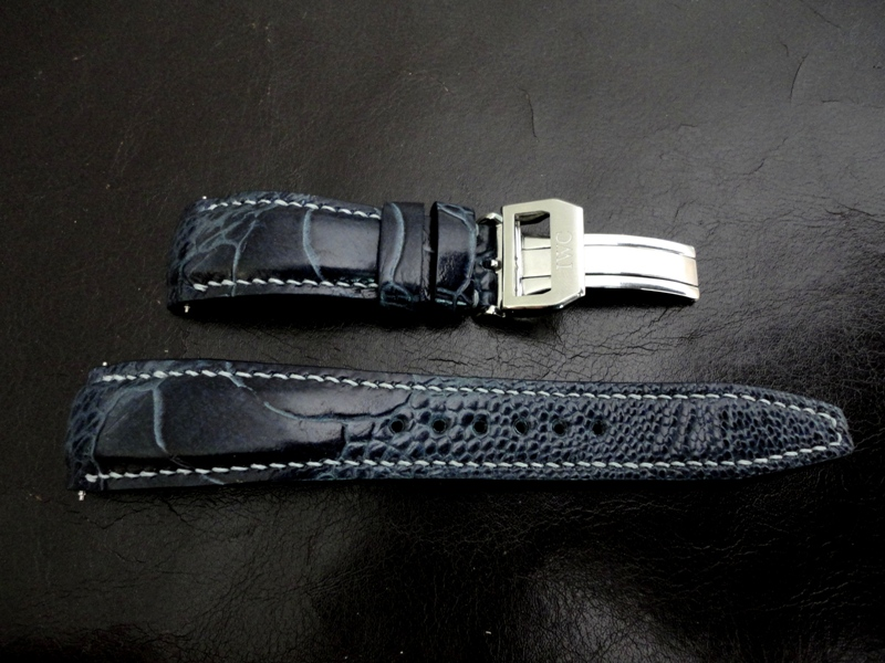 Straps made from Monaco Blue Ostrich Leg