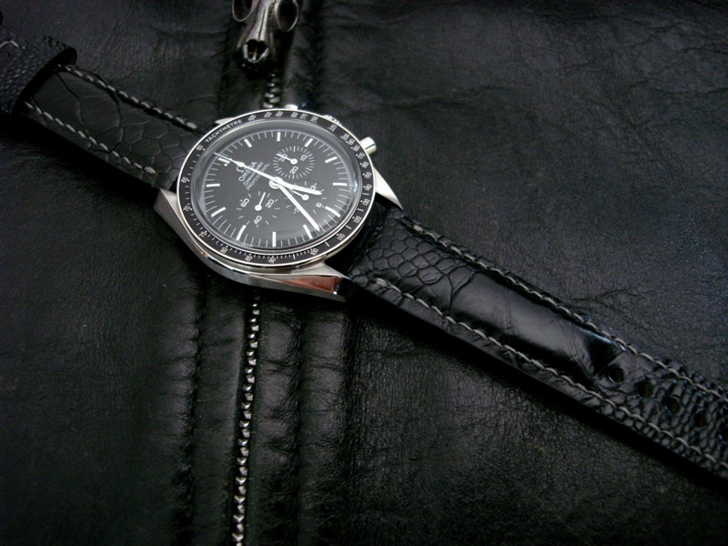 Watch Strap made from Satin Black Ostrich Leg on Omega Speedmaster