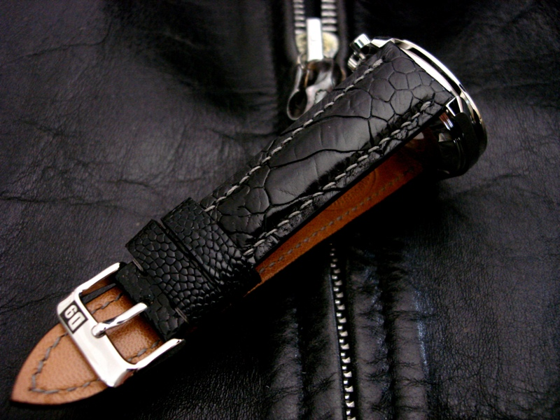 Straps Made from Satin Black Ostrich Leg Skin