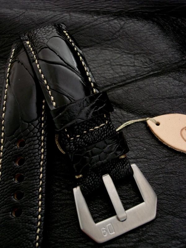 Custom Watch Strap -Satin Black Ostrich Leg skin strap for Panerai - Gold Metallic Stitching