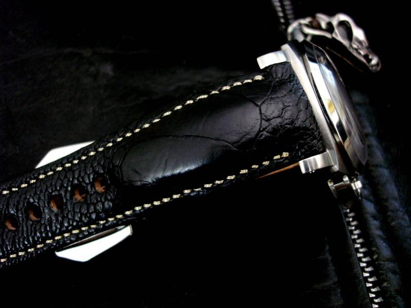 Black Satin Ostrich Leg skin watch strap with Metallic Gold stitching