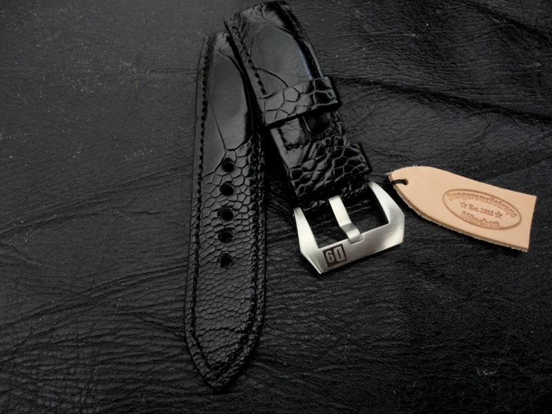 Watch Strap made from Satin Black Ostrich Leg for Panerai