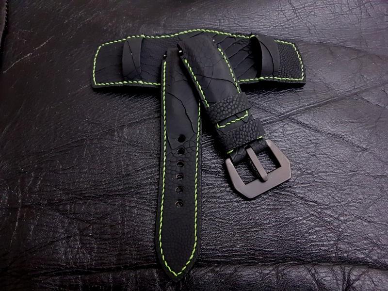 Custom Bund Watch Strap made from SuperMatte Carbon Black Ostrich Leg skin for Rolex Deep Sea