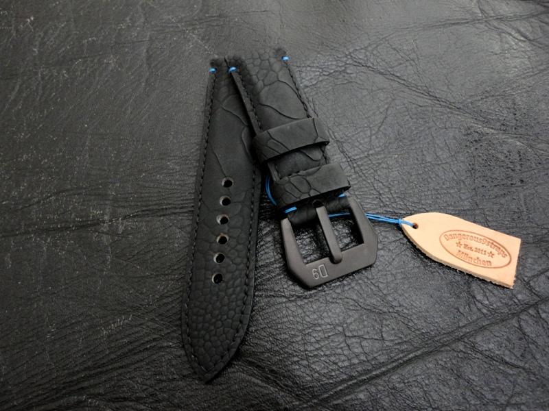 SuperMatte Black Ostrich Leg strap for Panerai