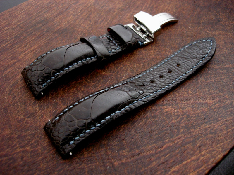 Custom Watch strap for Zenith made from Tobacco Ostrich Leg skin - Dangerous9straps