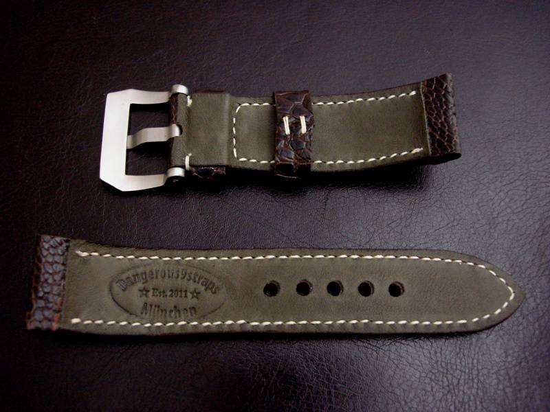 Custom Watch strap for Panerai made from Tobacco Ostrich Leg skin - Dark Olive Kangaroo Lining